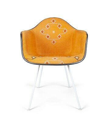 Eames Herman Miller Upholstered with cactus silk fiberglass shell chair