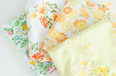 Lot of 4 Vintage Pretty Yellow Orange Green Floral Roses Retro Pillowcases