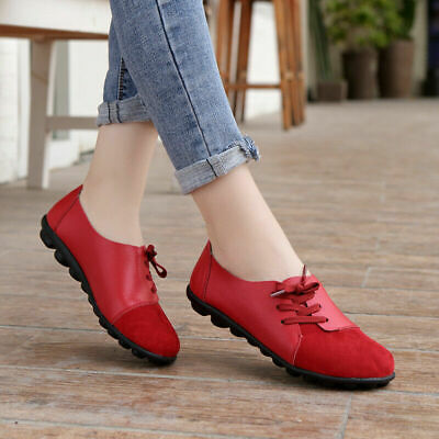 Women's Ladies Casual Suede Flats Loafers Pumps Leather Office Comfort Shoes