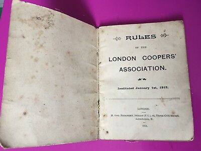 Rare Trade Union Rule Book 1913. London Coopers' Association