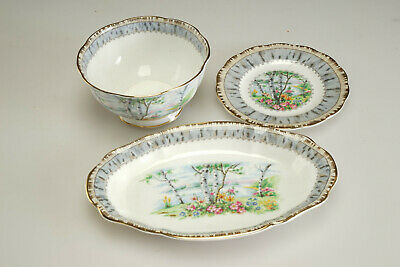 """Vintage Royal Albert """"Silver Birch""""  Oval Plate, Bowl, Small Plate LOT"""