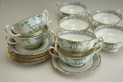 """Vintage Royal Albert """"Silver Birch""""  Cream Soup Bowls with Saucers - Lot of 8"""