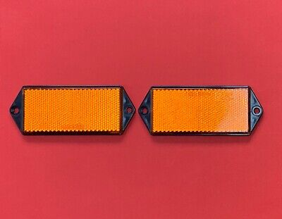 2 x Orange RADEX Rectangle Screw Mount Reflectors 127mm x 50mm Trailer/Truck/Van