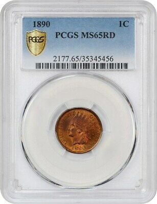 1890 1c PCGS MS65 RD - Indian Cent