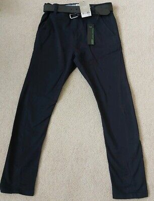 Next Boys Blue Skinny Trousers Age 9yrs With Belt and Adjustable Waist BNWT