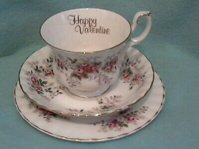 """Royal Albert """" Lavender Rose """"  Happy Valentine Cup Trio --  Made in England"""