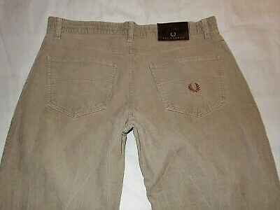 """Fred Perry Corduroy Trousers - And Brown - Size W34""""/L33"""" (Straight Fit)"""