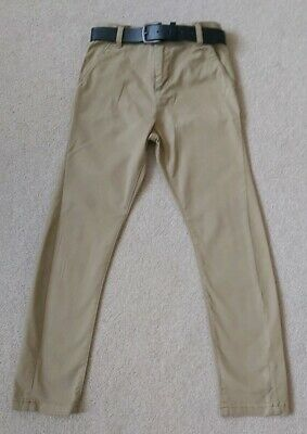Next Boys Smart Camel Colour Trousers With Belt Age 9yrs Worn Once