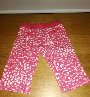 BNWT Girls OSHKOSH B'gosh Pink TROUSERS with white floral detail. Age 9 Months