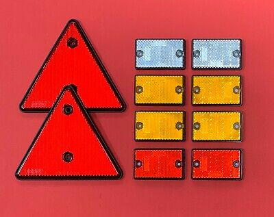 "Set of Reflectors ""2 Red Triangle & 8 Self-Adhesive Rectangle"" Driveway/Post etc"