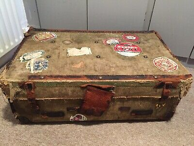 Vintage Antique Travel Trunk Suitcase With Labels Travel Storage Chest