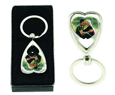 Personalised metal heart key ring, any photo, print on one side, comes with box