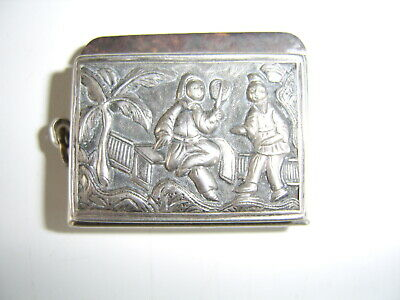 Antique Chinese Sterling Silver Box Possibly A Vesta