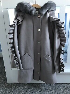 Girls River Island Grey Frill Hooded Coat Jacket Parker Age 9