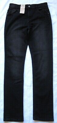 Bnwt M&S Kids Straight Leg Denim Jeans Long Length Age 15/16 Yrs Col. Black