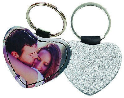 Personalised heart PU leather keyring with a silver glitter side, any photo/text