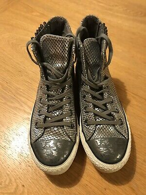 Converse All Stars Womens Girls Unusual Silver High Tops Size 3.5