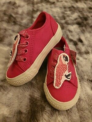 Bnwt Next Pink Sparkly Parrot Bird Trainers Baby Toddler Shoes Canvas Size 3