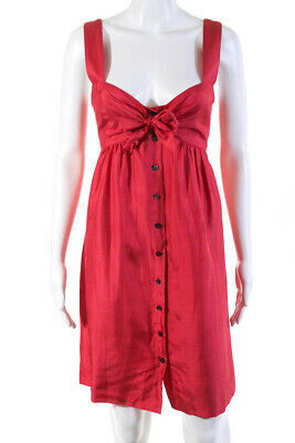 Elie Tahari Womens Sleeveless Sweetheart Neck Shirt Dress Pink Silk Size 8