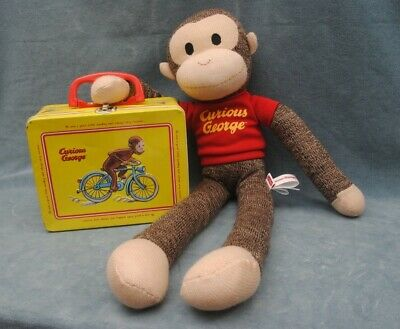 Schylling Curious George Soft Doll And Metal Lunch Box