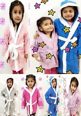Kids Childrens 100% Cotton Bathrobe Terry Towelling Hooded Bath Robe Gown 1 - 12