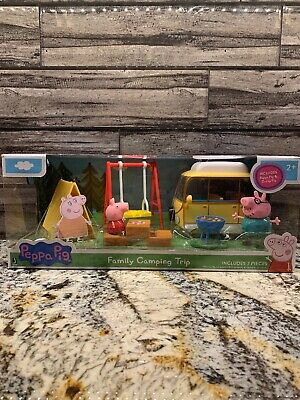Peppa Pig ~ Family Camping Trip 7-Pieces Playset Character Toy Camper NEW
