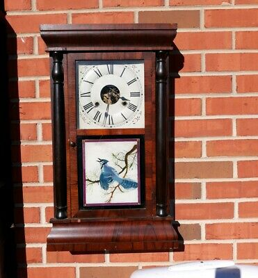 Seth Thomas double Column Pillar Mantle Clock Painted Bluejays weight driven