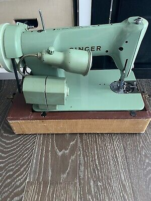 Singer Sewing Machine Avacado 185J Canada With Case Vintage Pedal Untested As Is