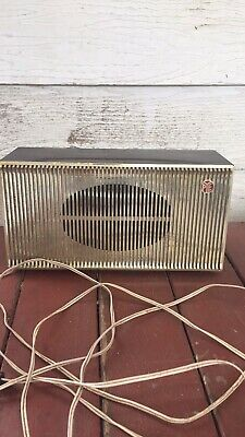 VINTAGE BROWN & GOLD PLASTIC PYE SPEAKER - good structural condition