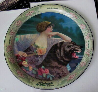 1913 pre prohibition beer tray Woman & Black Bear Seattle Brewing & Malting CO.