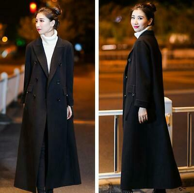 Women High-end Wool Trench Coat Double-Breasted Outwear Formal Windbreaker Parka