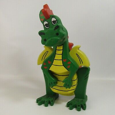 """Vintage Wooden Dragon Figure 18"""" Solid Wood Hand Painted Green Whimsical"""