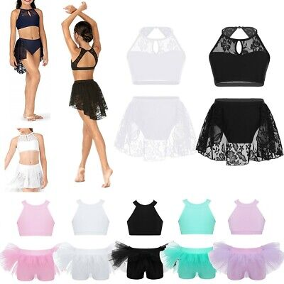 Girls Lyrical Ballet Dress Jazz Lace Bra Tops+Skirt Shorts Modern Dance Costume