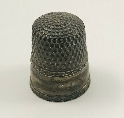 Antique Victorian Sterling Silver Waite Thresher Co. Sewing Thimble 1890's Sz 8