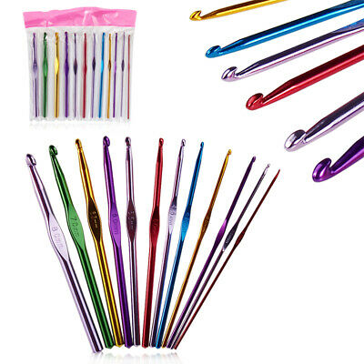 12Pcs Crochet Hook Metal Grip Set Handles Knitting Needles Multi-Colour