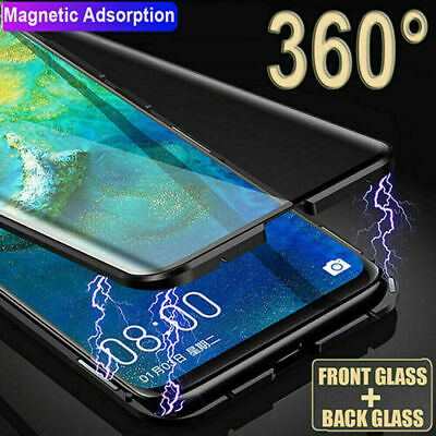 360° Double Tempered Glass Magnetic Phone Case Cover For Huawei P30 Pro P30 Lite