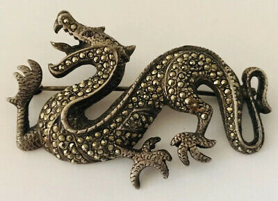 Large Antique Sterling Silver Marcasite & Ruby Chinese DRAGON Pin Brooch 925