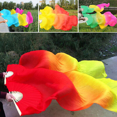 Belly Dancing Silk Fan Chinese Handmade Bamboo Veils Dance Long Fans Tie-dyed