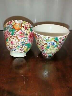 A pair of antique chinese porcelain cups with mark