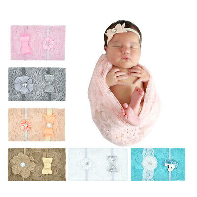ITS- JW_ 3Pcs/Set Baby Floral Lace Blanket Wrap Swaddle with Faux Pearl Headband