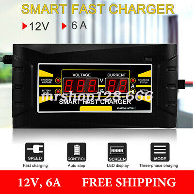 Car Battery Charger 12V 6A for Motorcycle Lead-Acid w// Digital LCD Display A8K4