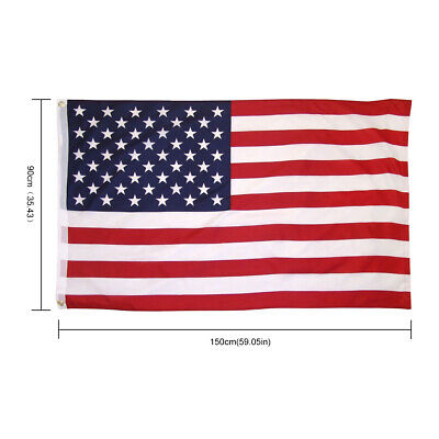 3x5 Ft American Flag Embroidered Stars Sewn Stripes Grommets Polyester US U.S.