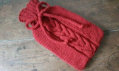 Hand knitted hot water bottle bag cover with 2 litre bottle - deep red FREE P&P