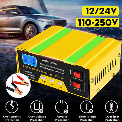 Car Battery Charger 12V/24V 10A Automatic Intelligent Pulse Repair Lead-acid GEL