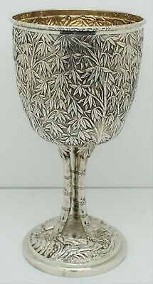 Large CHINESE EXPORT solid silver  CUP GOBLET.  BAMBOO FORM. 19cm Signed c.1890