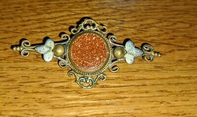 Beautiful Antique Victorian  Sunstone / Goldstone Brooch With Silver Surround