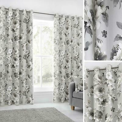 Grey Eyelet Curtains Floral 100% Cotton Ready Made Lined Ring Top Curtain Pairs