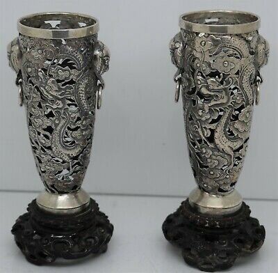 GOOD Pair of CHINESE EXPORT SILVER VASES . Pierced DRAGONS.Hung Chong c.1900