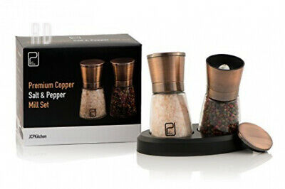 Premium Salt and Pepper Grinder Set - Best Copper Stainless Steel Mill