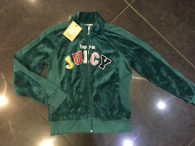 NWT Juicy Couture New & Genuine Girls Age 8 Green Velour Jacket With Juicy Logo